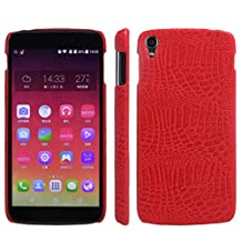 Alcatel OneTouch Idol 3 (5.5 Inch) Case, HL Brothers [Ultra Slim] Premium Crocodile Pattern Lightweight Leather Phone Protective Case Cover for Alcatel One Touch Idol 3 5.5 Inch Smartphone (Red)