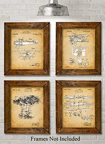 Original Flying Machines v2 Patent Prints - Set of Four Photos (8x10) Unframed - Makes a Great Gift Under $20 for Engineers and Pilots