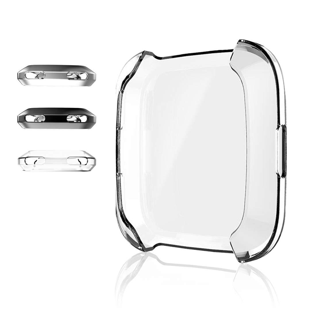 ZUOYI Fitbit Versa Funda, Protector de Pantalla Cubierta Protectora Completa Carcasa para Fitbit Versa Smartwatch,Transparente