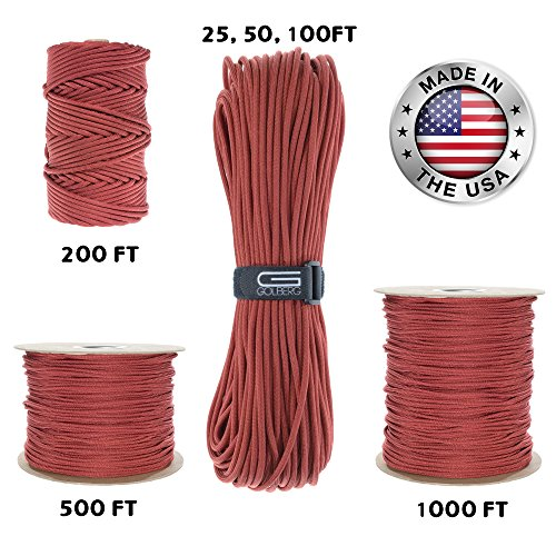 GOLBERG 550lb Parachute Cord Paracord - 100% Nylon USA Made Mil-Spec Type III Paracord - Used by The US Military - Multiple Colors and Lengths Available (Red, 200 Feet)