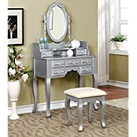 Simple Relax 1PerfectChoice Harriet Vanity Makeup Table Swivel Oval Mirror Floral Hutch Drawers Bench Silver