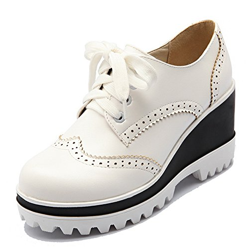 Out Womens Bandage Walking Hollow Urethane Wedges BalaMasa White Shoes zUtwqB