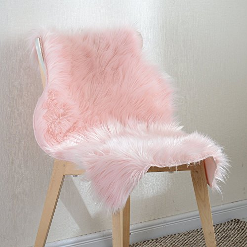 Basic Beyond Faux Sheepskin Pink Area Shag Rug,Single Pelts(2' x 3' feet)