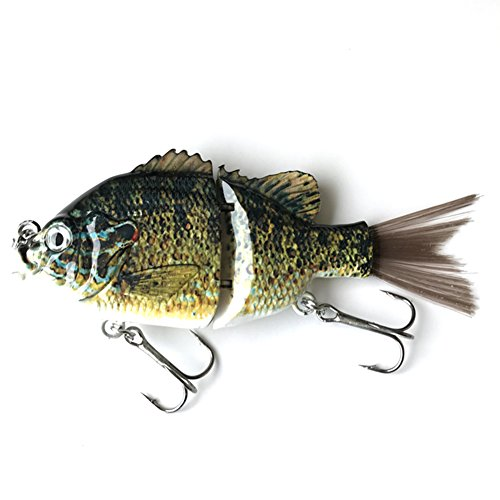 kachawoo Artificial Bait with Fiber Hair Tail 2 Section Swimbait Lifelike Multi Jointed Sunfish Sinking for Trout Bass Perch 5 45g