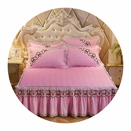 - Colorful-cookie-bedspread-sets European Bedspreads and 2PCS Pillowcase Thick Cotton Bed Skirt with Lace Edge Twin Queen King Size Bedding Set,Pink,180x200cm-3pcs