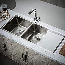 Kitchen Sink,Kitchen 304 Manual Sink Single Trough Stainless Single Trough Big Wash Dishes Under The Table Kitchen Sinks 1080Mmx450Mmx210Mm