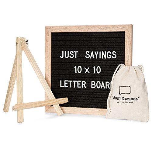 Felt Letter Board Set, 10x10 Oak Frame, Wooden Stand, 340 Changeable Letters, Symbols, and Emoji