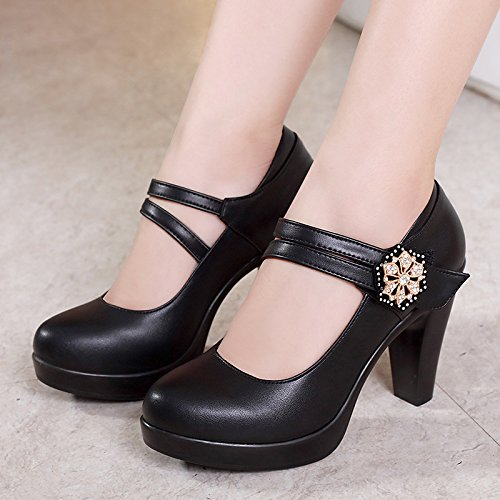 Con Cheongsam Grueso Boca Hembra Jqdyl Cm Primavera Zapatos Black 8 Otoño Hebilla Baja Tacones 0wCRqI8