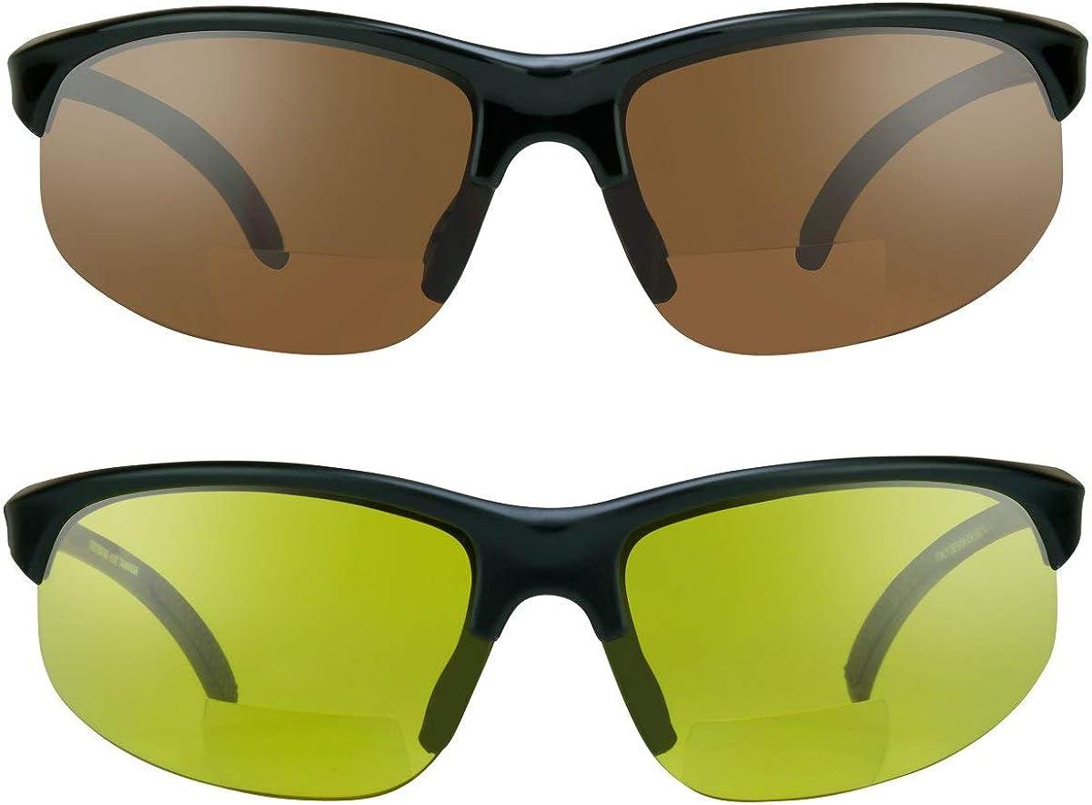 proSPORTsunglasses Gafas de sol bifocales con marco sin montura. Lentes de cobre de humo, amarillas o de alta definición