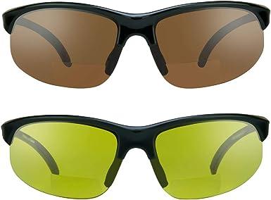 TALLA 2.5. proSPORTsunglasses Gafas de sol bifocales con marco sin montura. Lentes de cobre de humo, amarillas o de alta definición