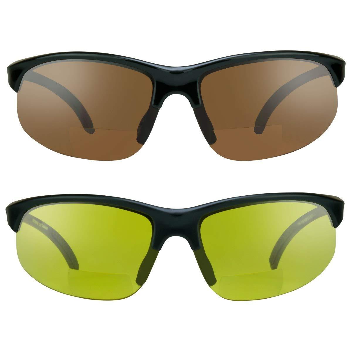 TALLA 3. proSPORTsunglasses Gafas de sol bifocales con marco sin montura. Lentes de cobre de humo, amarillas o de alta definición