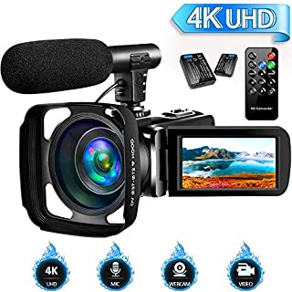 4K Camcorder Video Camera for YouTube, Vlogging Camera with Microphone Ultra HD 30MP 16X Digital Zoom 270 Degrees Rotatable Touch Screen Video Camcorders Support Remote Control