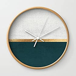 Society6 Deep Green, Gold And White Color Block Wall Clock Natural Frame, White Hands