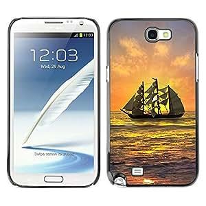 LECELL--Funda protectora / Cubierta / Piel For Samsung Galaxy Note 2 N7100 -- Ship Sailing Sunset Sea Ocean Sky Waves --