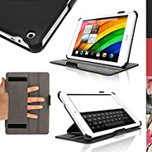 """iGadgitz Premium Executive Black PU Leather Case Cover for Acer Iconia 7.9"""" A1-830 with Hand Strap + Multi-Angle Viewing Stand + Screen Protector"""