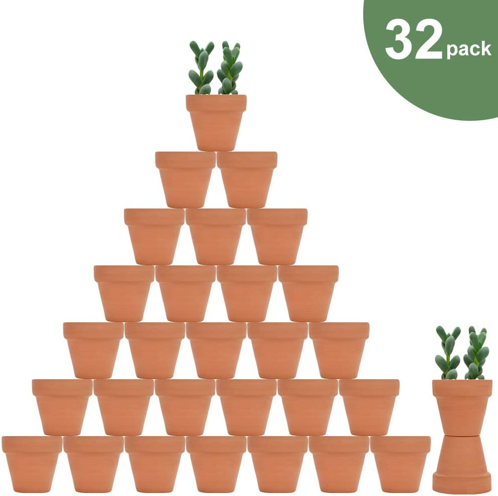 32pcs Small Mini Clay Pots, 2 Terracotta Pot Clay Ceramic Pottery Planter, Cactus Flower Nursery Terra Cotta Pots, with Drainage Hole, for Indoor Outdoor Succulent Plants, Crafts, Wedding Favor