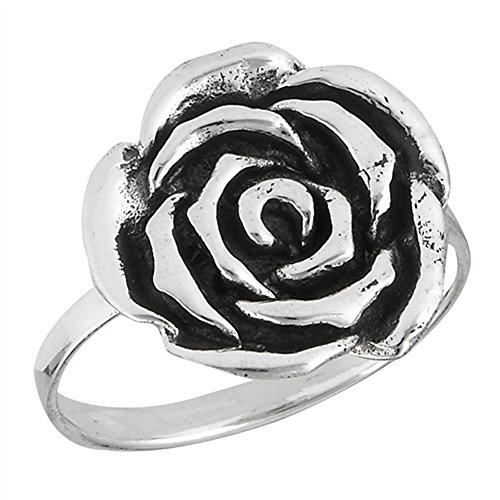 Large Oxidized Rose Flower Beautiful Ring .925 Sterling Silver Band Size 9 (Sterling Silver Oxidized Rose)
