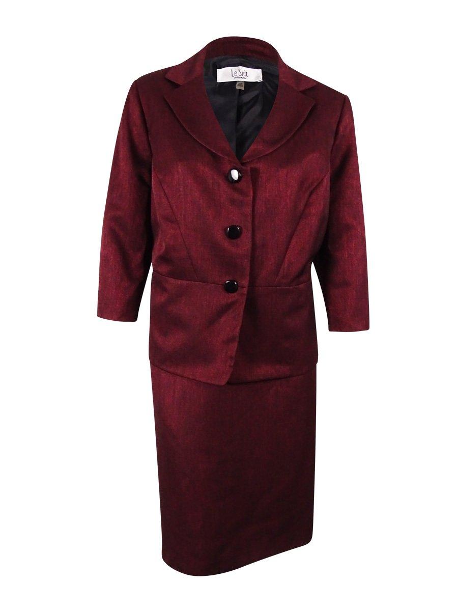 Le Suit Women's Plus-Size 3 Button Two Tone Shine Jacket and Skirt Set, Bordeaux Multi, 22W