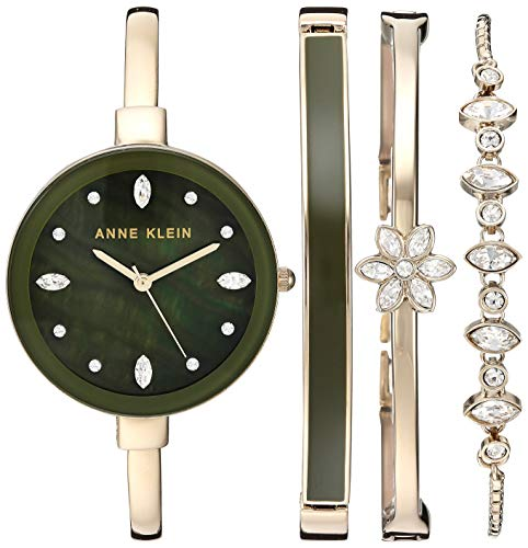 Anne Klein Women's AK/3352 Swarovski Crystal Accented Bangle Watch and Bracelet Set