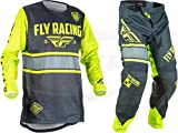 New Fly Racing Men's Kinetic Era Jersey & Pants Combo Set MX Riding Gear (Grey/Hi-Vis, Adult Large / 34)