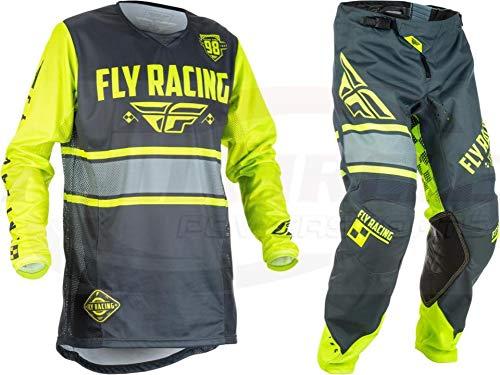 New Fly Racing Men's Kinetic Era Jersey & Pants Combo Set MX Riding Gear (Grey/Hi-Vis, Adult Medium / 32)