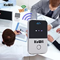 KuWFi 4G WiFi Router Unlocked Travel Partner 4G LTE Wireless 4G Router with SIM Card Slot Support LTE FDD B1/B3/B5 Support AT&T and U.S. Cellular 4G