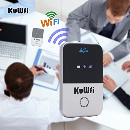 KuWFi 4G WiFi Router Unlocked Travel Partner 4G LTE Wireless 4G Router with SIM Card Slot Support LTE FDD B1/B3/B5 Support AT&T and U.S. Cellular 4G by KuWFi