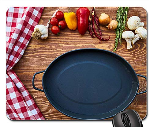 (Mouse Pad - Pan Tray Pot Black Granite Kitchen Food Garlic)