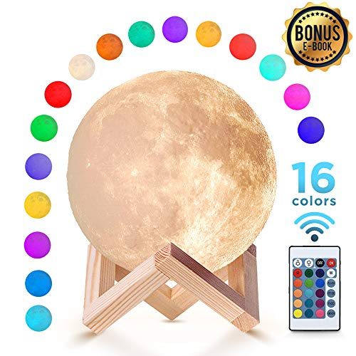 Moon Lamp (5.9 inch) with 16 Colors Night Light with Stand and Remote & Touch Control USB Charge for Children Kids Couple Gift Birthday Gift Bedroom 3D Printed Material Realistic Surface