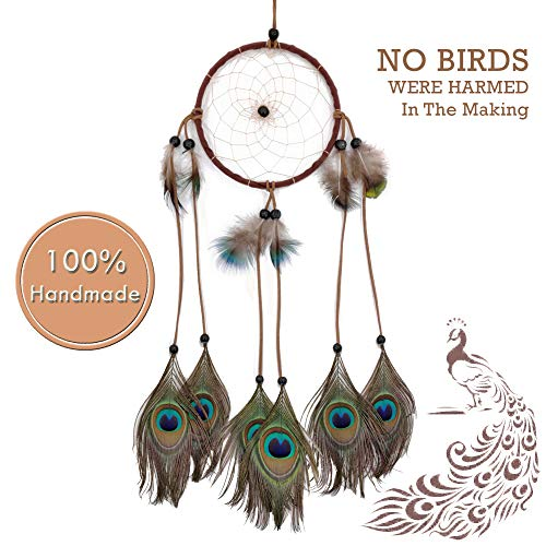 Dream Catchers for Bedroom Decor - Dream Catcher Peacock Handmade Home Wall Hanging Decoration Ornament Craft Gifts for Parents & Kids in Brown Blue Purple White Multi color Suit Balcony & Car Charm