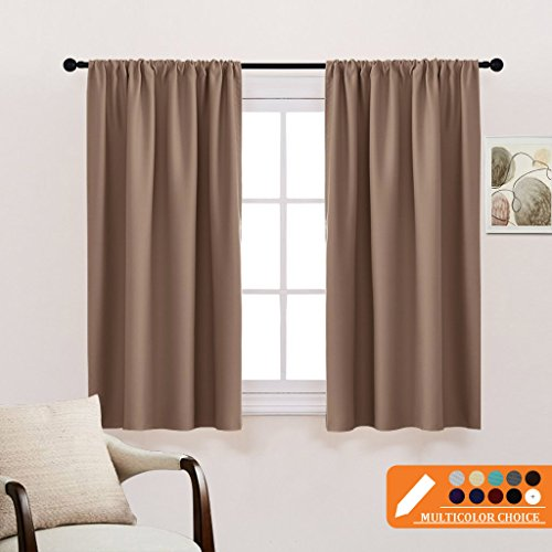 Kitchen Thermal Insulated Blackout Curtains - Window Treatments Curtain Panels with Rod Pocket Light Block Privacy Protect for Bathroom by PONY DANCE, Wide 42