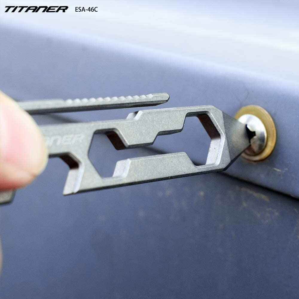 TITANER Multi-Tools Titanium Pry Bar Crowbar EDC Tool Bottle Opener Pocket Clip