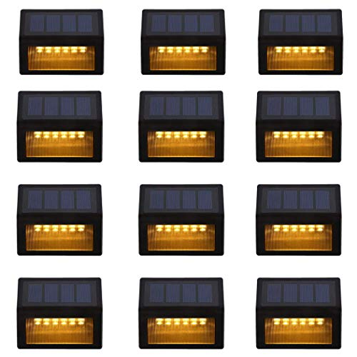 Solar Step Lights ,LED Solar Powered Step Lights Wireless Waterproof Outdoor Security Lamps Lighting for Steps Stairs Paths Patio Decks(Pack 12,Warm Yellow Light) (12 Pack)
