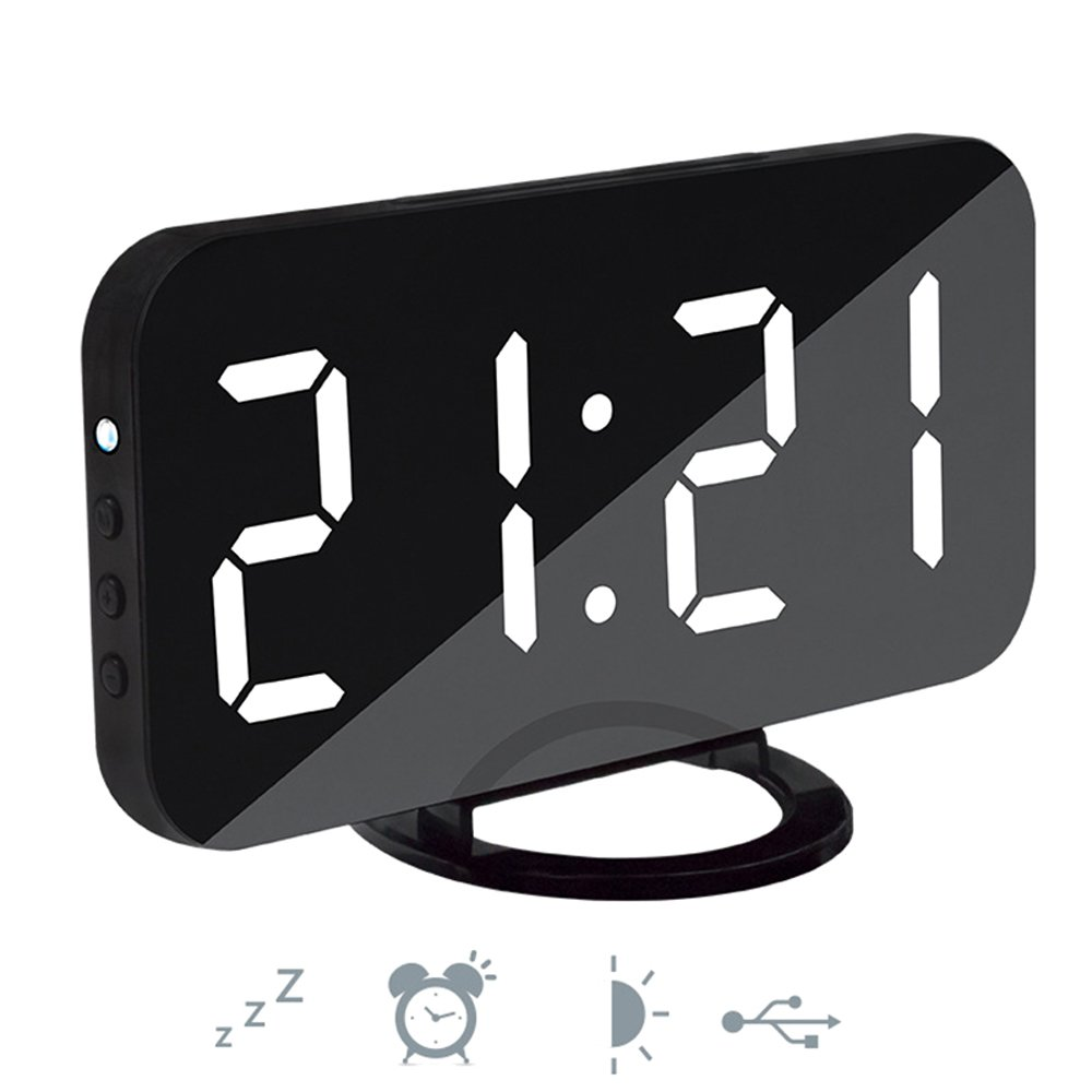 funwill Digital Alarm Clock,Dual USB Charging and Port,LED Display,Adjustable Brightness, Mirror Surface,Table Clock for Bedroom Living Room Dorm Decor