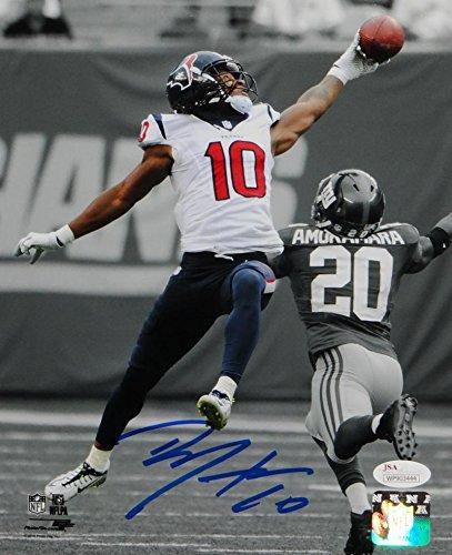 DeAndre Hopkins Signed Texans 8x10 BW Color PF Photo JSA W Auth Blue