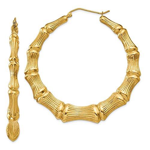 - Mia Diamonds 14k Yellow Gold Polished Bamboo Hoop Earrings