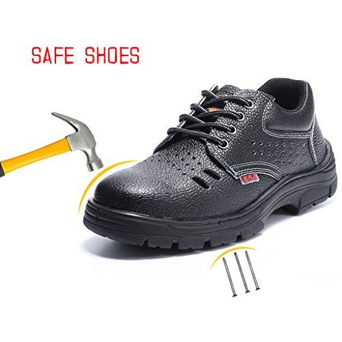 CHNHIRA Mens Women Steel Toe Cap Saftey Ultra Light Weight Lace Work Shoes Sandals Black 1 ODQe7x2B6