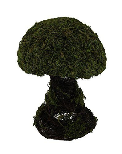 Wood Statues Green Faux Moss Covered Indoor/Outdoor Mushroom Statue 11 In. 8.5 X 11.5 X 8.5 Inches (Grapevine Topiary)
