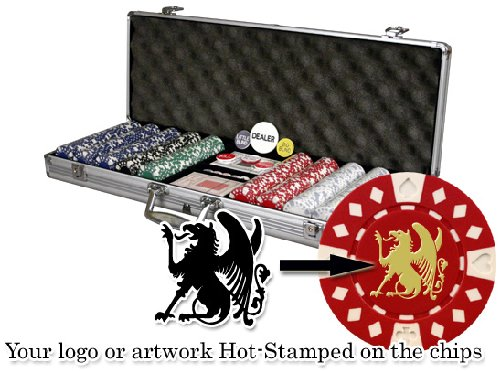 Personalized Poker Chipset (Custom Poker chip Set: Your logo or artwork stamped on the chips. 500 11.5 gram chip w/case & more.)