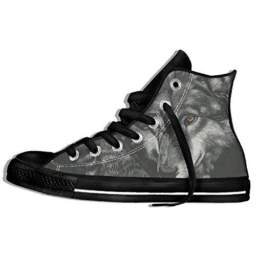 Baskets Montantes Classiques Chaussures De Toile Anti-dérapant Loup Peinture Casual Marchant Pour Hommes Femmes Noir