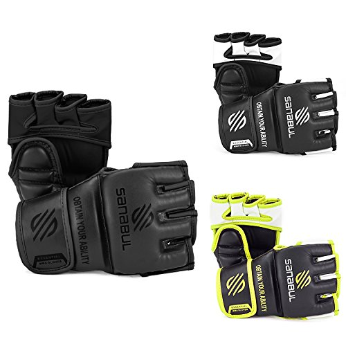 Sanabul Essential MMA Grappling Gloves 4 oz (AllBlack, (Mma Striking Training Gloves)
