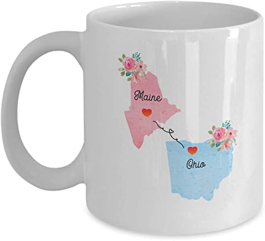 Amazon Com Maine Ohio Gifts Long Distance State 11 Oz Coffee Mug For Mom And Dad Kitchen Dining
