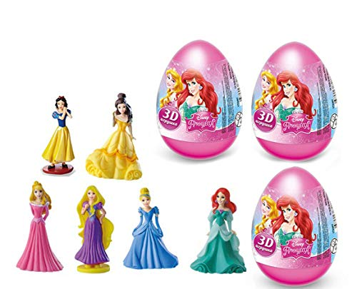 3psc Disney Princess Plastic Egg Toy and Candy Birthday Party Favor (3.5 Inches) Table Supplies Cake Topper Toys In Shells Capsule Sweets Bag Easter Surprise -