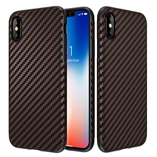 iPhone X Case, Ultra-Slim Thin Cute Carbon Fiber Waved Patte