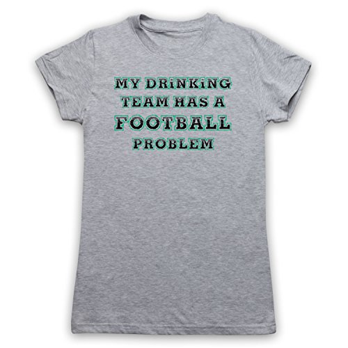 My Icon Art & Clothing My Drinking Team Has A Football Problem Funny Football Slogan Damen T-Shirt Grau mOyghqdyqS