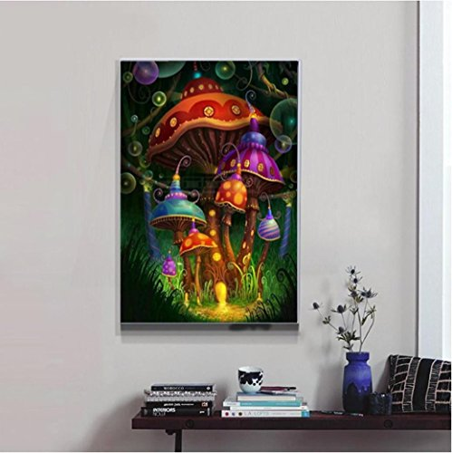 5D Diamond Painting by Number Kit,YOYORI Mushroom Castle Rhi
