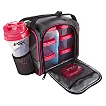 Fit & Fresh Jaxx FitPak with Portion Control Container Set, Reusable Ice Pack, and Shaker Cup (Black/Pink)