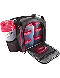 Original Jaxx FitPak Insulated Meal Prep Bag with Portion Control Containers, Ice Pack and 28-ounce JAXX Shaker Bottle, Pink