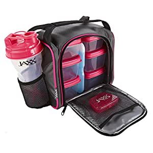 Fit & Fresh Jaxx FitPak Meal Prep Bag and Container Set with 6 Leakproof Portion Control Containers, Ice Pack and 28-ounce Jaxx Shaker Cup, Pink