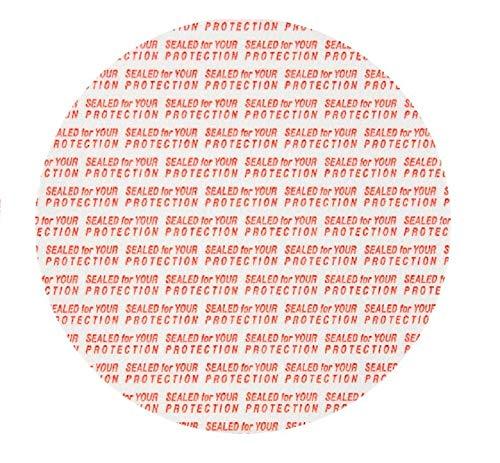 (SanDaveVA 38mm Pressure Sensitive PS Foam Seals Cap Liners Tamper Seal Cap Liner Sealed for your Protection Red Print (50))
